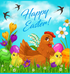 Easter eggs and chicks on green grass vector