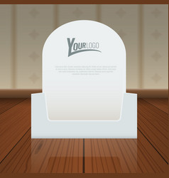 Empty cardboard or visit card display box mockup vector