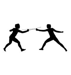 Fencing players duel silhouette sword fighting vector