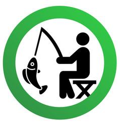 Fishing allowed sign modern round sticker vector