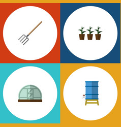 Flat icon farm set of flowerpot hay fork vector