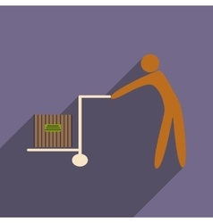 Flat with shadow icon and mobile application cargo vector image