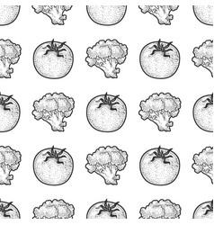 fresh vegetables seamless pattern sketch vector image