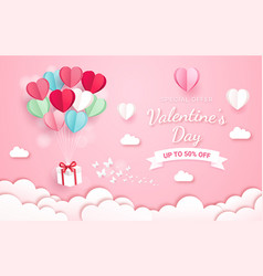 gift box with balloon on sky paper cut style vector image