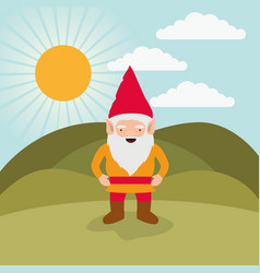 gnome fantastic character happiness expression in vector image