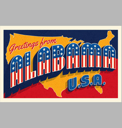 greetings from alabama usa retro style postcard vector image