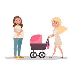 group women mom pushing her bain a stroller vector image