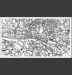 hamburg germany city map in retro style outline vector image