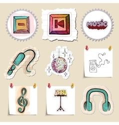 Hand drawn music emblems set Isolated vector image
