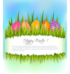 happy easter background with set of colorful eggs vector image