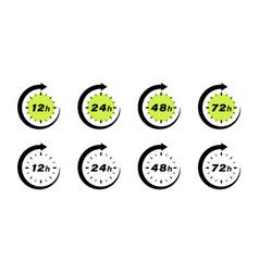 Hours clock arrow green vector