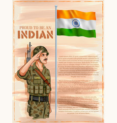 Indian army soilder saluting flag of india with vector