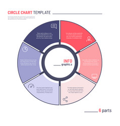 infographic circle chart template six vector image