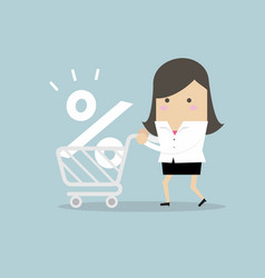 interest rate shopping businesswoman shopping vector image