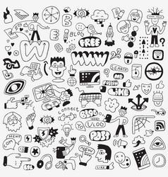 Internet technology doodle set vector