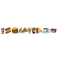 junk fast food burger and hamburger tacos and vector image