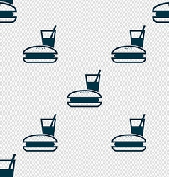 Lunch box icon sign Seamless pattern with vector
