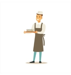 Man professional cooking sushi chef working in vector
