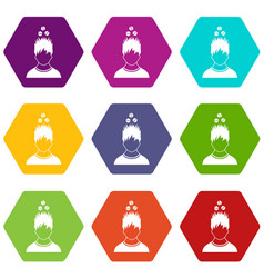 Man with tablets over head icon set color vector