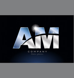 Metal blue alphabet letter am a m logo company vector
