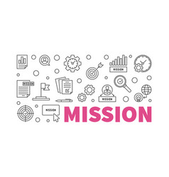 Mission horizontal banner in thin line vector
