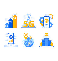 mobile 5g network city fast internet hotspot vector image