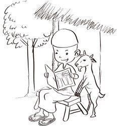 Muslim boy reading with a goat - sketch drawing vector