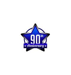 Ninety years anniversary badge vector