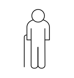 Old grandfather avatar line style icon vector