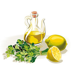 Olive oil parsley and lemon vector