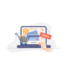 online payment credit card payment security vector image