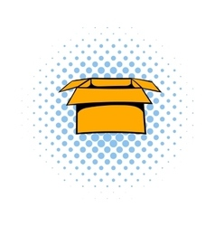 Open empty cardboard icon comics style vector image