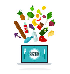 Order online on screen computer flat isolated vector