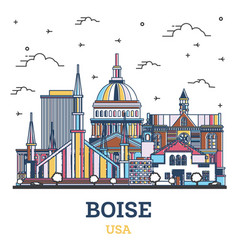 outline boise idaho city skyline with colored vector image