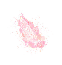 Outline feather on watercolor pink effect vector