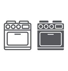 oven line and glyph icon appliance and cooking vector image