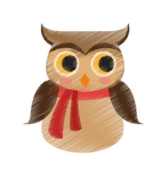 owl with scarf icon image vector image