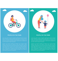 people in park girl riding bike mother daughter vector image