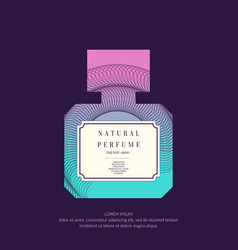 Perfume bottle with dynamic lines and waves vector