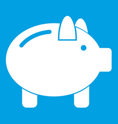 Piggy bank icon white vector