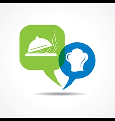 Platter and chef hat in message bubble vector image