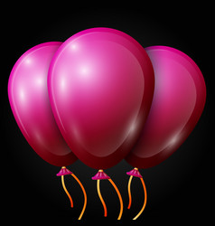 Realistic red balloons with ribbon isolated vector
