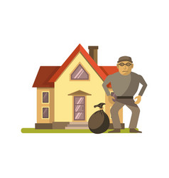 Robber at house vector