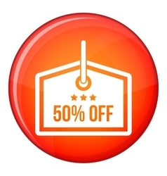 Sale tag 50 percent off icon flat style vector