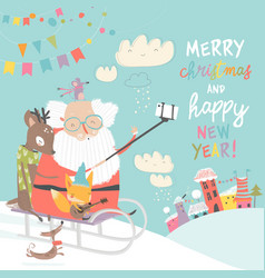santa take a selfie with reindeer and fox vector image