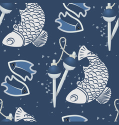 seamless patterns with fish-03 vector image