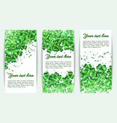 set banners st patricks day with glitter vector image