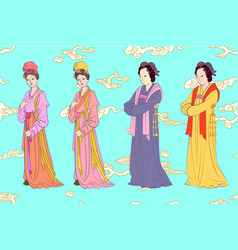 Set for chinese women song dynasty vector