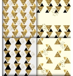 set of 4 black gold glitter seamless patterns vector image