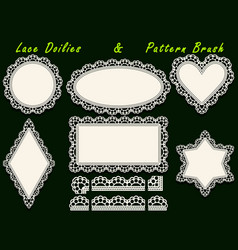 Set of design elements lace paper doily and vector